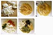 Salatsauce mit gekochten Eiern