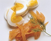 Smoked Salmon in Strips & boiled Egg