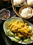 Rice with yellow curry powder and fragrant rice