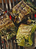 Fish Fillet in Banana Leaves on Grill
