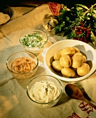 New potatoes with herb quark