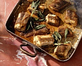 Anguilla fritta al forno (roasted eel with sage, Italy)