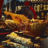 Inside an Italian Deli; Meats and Bread; Wine