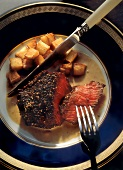 Steak with Cracked Pepper and Diced Potatoes