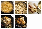 Preparing chicken with forcemeat stuffing