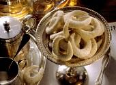 Vanilla cookies (Kipferl) on a silver dish