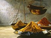 Assorted Curry Mixtures in Brass Bowls