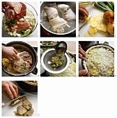 Baeckeofe; Fleischeintopf zubereiten