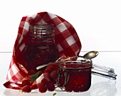 Two Jars of Raspberry Jam; Napkin and Spoon