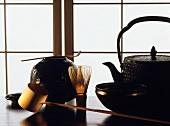 Japanese teapot; tea whisk; ladle