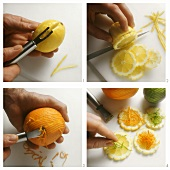 Lemon slices with orange julienne