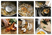 Making chicken broth with rice and peppers