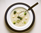 Cauliflower Soup with Broccoli Florets