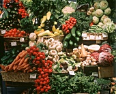 A Market Vegetable Stall; Indoors