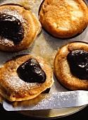 Bohemian Pancakes with Plum Puree & powdered Sugar
