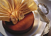 Sacher torte with wafer fan