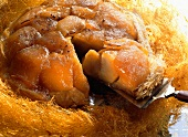 Apple tart; Tarte tatin with spun sugar