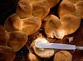 White bread with slice of bread