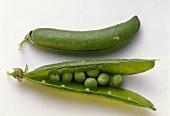 Open and Closed Green Pea Pod