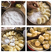 Making apple pie with caramel