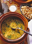 Saffron-Almond Soup with Bread Cubes
