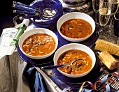Spicy bean soup with baguette