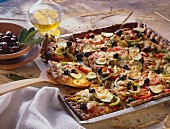 Sheet-baked Vegetable Pizza with Olives