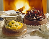 Nut savarin with fruit & Sacher torte
