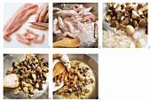 Preparing turkey sauce with mushrooms