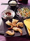 Shrimps in Rice Paper with Rice & Sauce