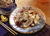 Redfish on Vegetables with Chinese Noodles