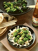 Broccoli with Oyster Sauce cooked in a Wok