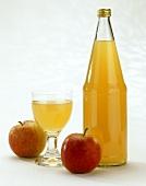 Natural Apple Juice; Bottle; Glass & Apples