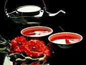 Rose Hip Tea; Teacups and Teapot