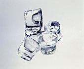 A few ice cubes; grey background