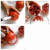 Preparing pomegranates
