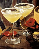 Two Margaritas in Salted Stem Glasses