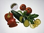 Still life: pepper; cucumber; tomatoes; lemon