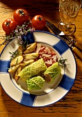 Savoy roll with rosemary potatoes