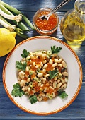 White bean salad with trout caviare