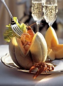 Stuffed Melon with Crayfish Cocktail Appetizer