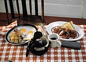 Fried Eggs with Bacon and Home Fries; Coffee
