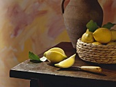 Lemon Still Life on a Wood Table