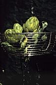 Artichokes in Wire Basket