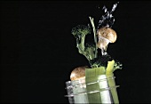 Tossing Vegetables Out of a Jar; Water