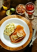 Salmon Fillet in Red Wine Sauce with mashed Potatoes