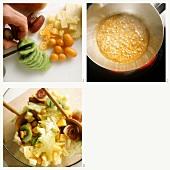Making tropical fruit salad
