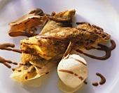 Nut-Chocolate Crepe with Vanilla Ice Cream