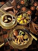 Christmas Menu: Clear Soup; Goose Breast with Pears