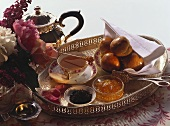 Tea Scene with Pastry on a Silver Tray